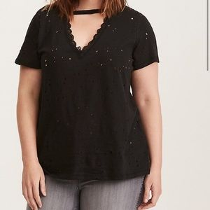 Torrid Destructed Lace Choker T Shirt